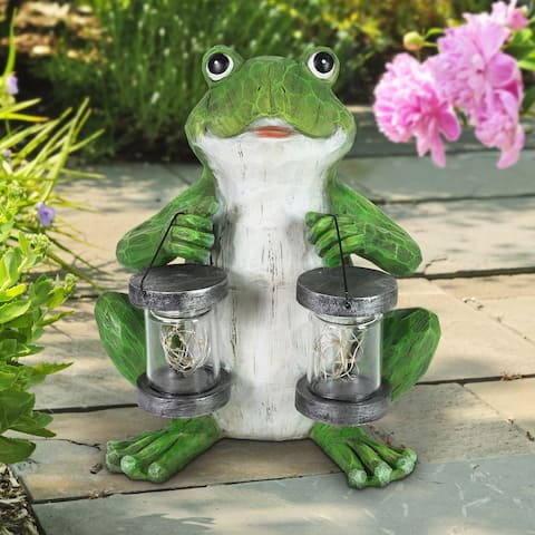 Exhart Solar Firefly Jar Frog Garden Statuary, 10 Inches tall