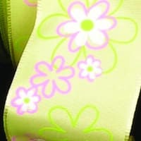 """Yellow, Pink and White with Retro Flowers Taffeta Wired Decorative Ribbon 1.5"""" x 27 Yards - YELLOW"""