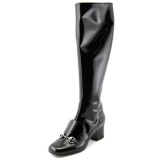 Gucci Regent Square Toe Patent Leather Knee High Boot
