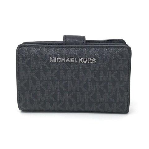Michael Kors Jet Set Travel Signature PVC Bifold Zip Coin Wallet - Black