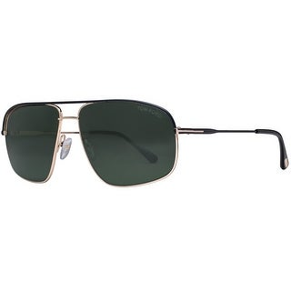 Tom Ford Justin TF467 02N Gold Matte Black/Green Rectangular Aviator Sunglasses - gold/matte black - 60mm-14mm-140mm