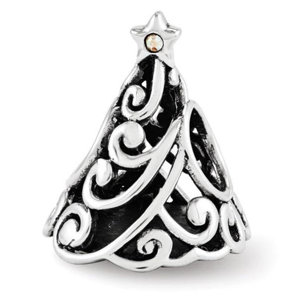 Sterling Silver Reflections Swarovski Filigree Christmas Tree Bead (4mm Diameter Hole)
