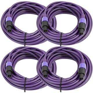 SEISMIC AUDIO 4 Pack of 12 Gauge 50' Purple Speakon to Speakon Speaker Cables