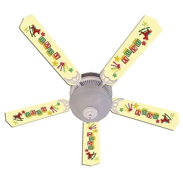Yellow Baby Blocks Designer 52in Ceiling Fan Blades Set - Multi