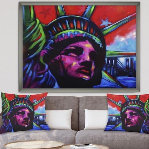 Designart 'Lady Liberty' Modern & Contemporary Framed Art Print