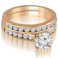 1.52 cttw. 14K Rose Gold Cathedral Channel Set Round Cut Diamond Bridal Set