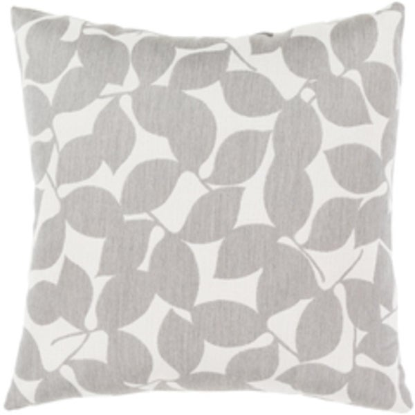 Rave Metal Gray and Ivory White Botanical Print Throw Pillow