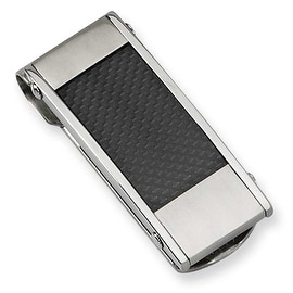 Chisel Stainless Steel and Black Carbon Fiber Brushed and Polished Money Clip