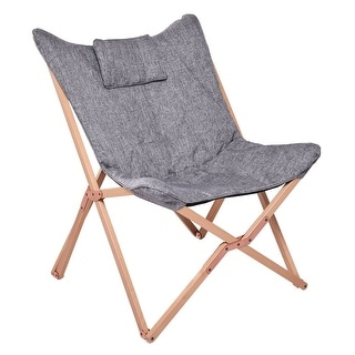 Beautiful Costway Folding Butterfly Chair Seat Wood Frame Home Office Furniture  Portable Gray