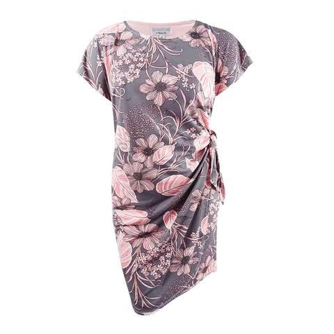Robbie Bee Women's Plus Size Printed Faux-Wrap Sheath Dress - Grey/Blush