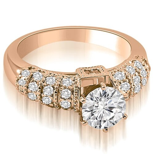 0.90 cttw. 14K Rose Gold Antique Style Round Cut Diamond Engagement Ring