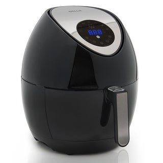 Della Portable Electric Air Fryer Temperature LED Touch Display, Detachable Basket, Handle - Black, 1400W