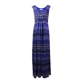 Calvin Klein Women's Pleated Printed Crepe Maxi Dress