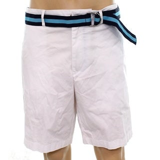 Club Room Silver Mens Size 38 Belted Flat-Front Chinos Shorts