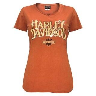 Harley-Davidson Women's Hustle Notched V-Neck Short Sleeve Tee, Orange