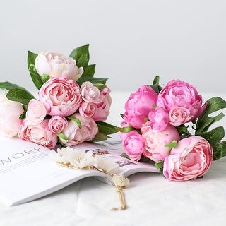 """FloralGoods Artificial Peony Bouquet 14"""" Tall"""