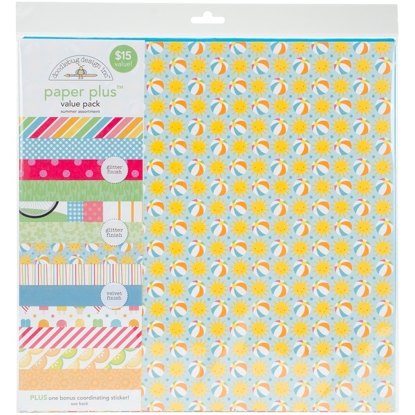 "Doodlebug Paper Plus Value Pack 12""X12"" 8/Pkg-Summer"