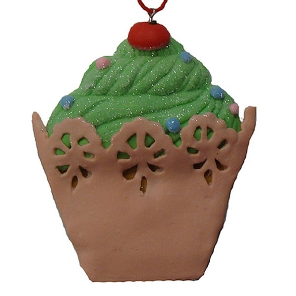 Sweet Memories Green Cupcake with Cherry on Top Christmas Ornament