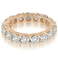4.25 ct.tw 14K Rose Gold Round Cut Share-Prong Diamond Anniversary Eternity Ring HI. SI1-2