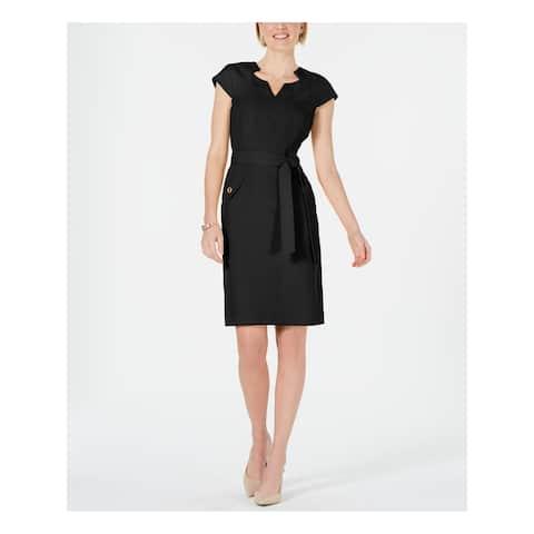 KASPER Black Cap Sleeve Knee Length Sheath Dress Size 6