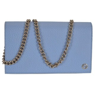 "Gucci 466506 BLUE Leather Interlocking GG Crossbody Wallet Bag Purse - 8"" x 4.5"" x 1.5"""