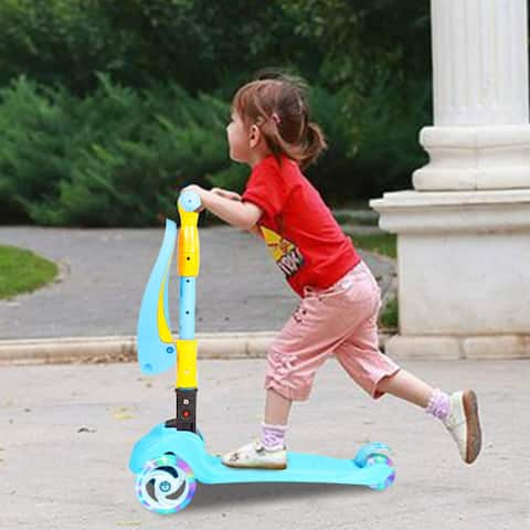 Orvisinc 3-in-1 Adjustable Height 3 Wheels Children Scooter with Seat