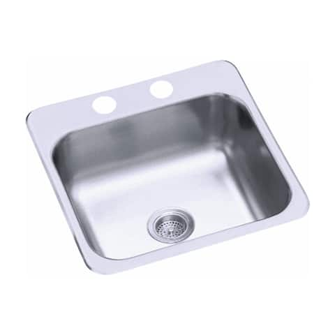 "Sterling B153-1 Single Hole 15"" Single Basin Drop In Stainless Steel Bar Sink with SilentShield -"