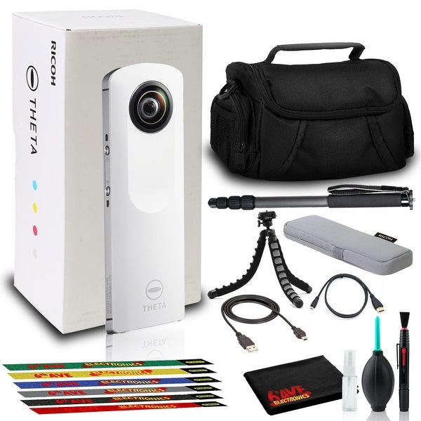 Ricoh Theta m15 Spherical VR Digital Cam (White) with Tripod, Monopod, and Bag. Opens flyout.