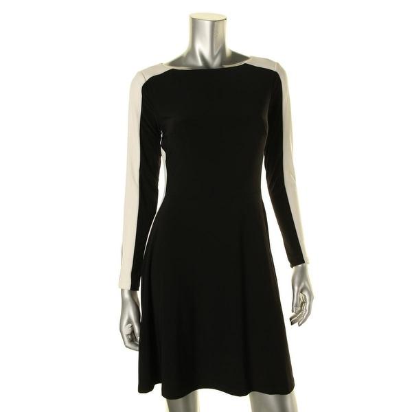 Lauren Ralph Lauren Womens Petites Samurini Casual Dress Matte Jersey Two Tone