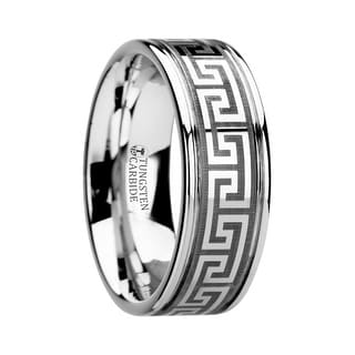 THASOS Grooved Tungsten Carbide Wedding Band with Greek Key Meander Design