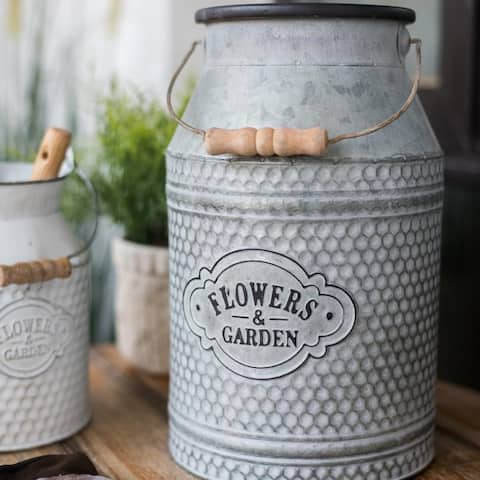 RusticReach Iron Flower Garden Barrel