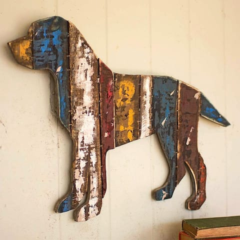 Reclaimed Wood Dog Wall Hanging, One Size, Multicolor
