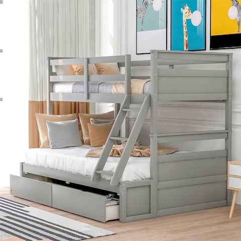Merax Twin over Full Bunk Bed with 2 Storage Drawers
