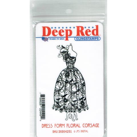 Deep Red Stamps Dress Form Floral Corsage Rubber Cling Stamp - 1.5 x 3