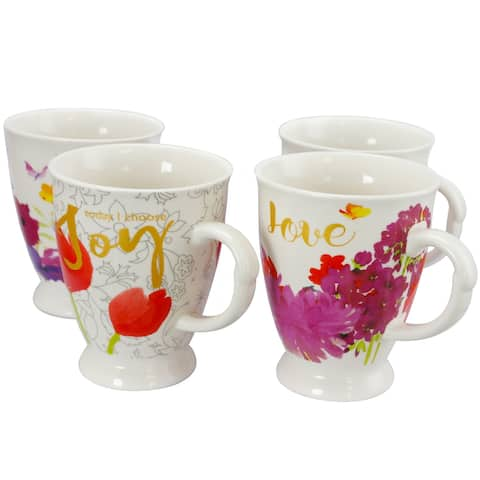 Gibson Bold Floral 17.4 oz Cup set of 4 Assorted Designs