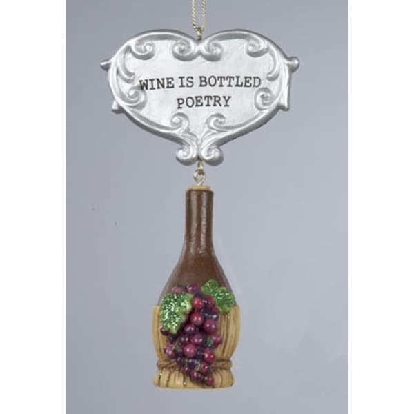 """Tuscan Winery """"WINE IS BOTTLED POETRY"""" Red Wine Jug Christmas Ornament"""