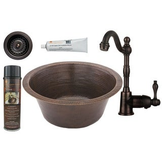 "Premier Copper Products BSP4_BR16DB3-D 16"" Round Hammered Copper Bar/Prep Sink,"