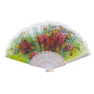 Unique Bargains Red Peony Pattern Lace Rim Summer Spanish Style Hand Fan Christmas Gift