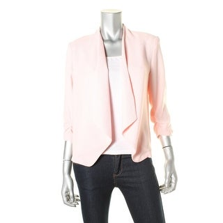 BCX Womens Ruched 3/4 Sleeves Open-Front Blazer - XS
