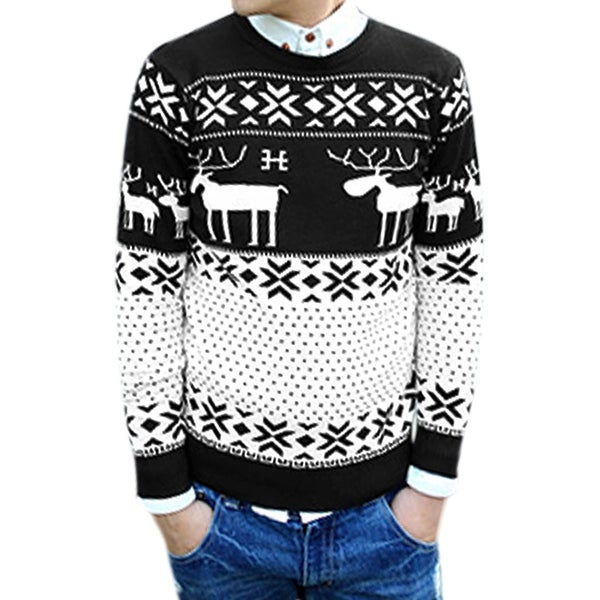 677eb42b875812 Shop Unique-Bargains Men s Deer Snowflake Dots Pattern Long Sleeves Pulover  Sweater - White - 38 - Free Shipping On Orders Over  45 - Overstock -  18825644