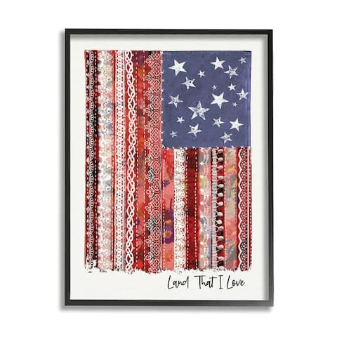 Stupell Industries Land That I Love Phrase Macramé American Flag Framed Wall Art - Red
