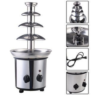 Costway 4 Tiers Commercial Stainless Steel Hot New Luxury Chocolate Fondue Fountain - Sliver