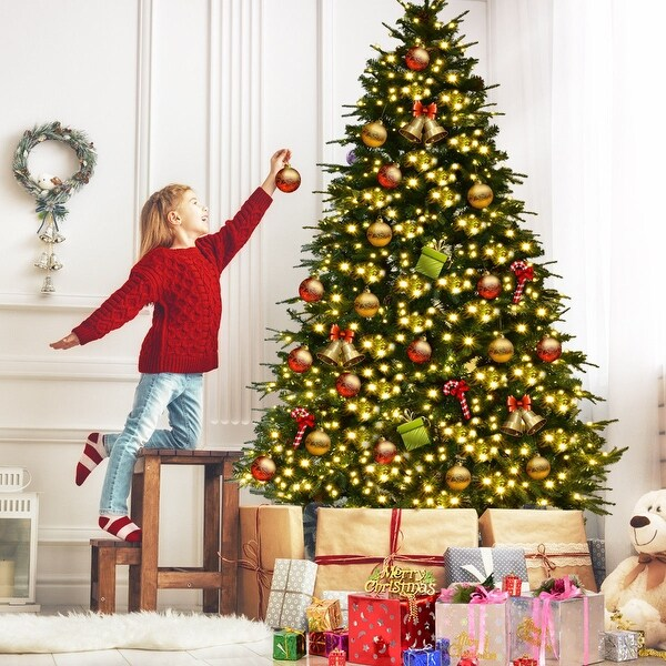 Artificial Christmas Tree With Pine Cones: Shop Gymax Pre-Lit 7.5' Artificial Christmas Tree Hinged