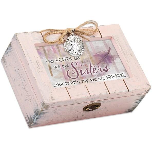 "6"" Pink Distressed Finish Rectangular Music Box - N/A"
