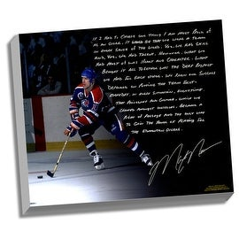 Mark Messier Facsimile 'Oilers Dynasty' Stretched 22x26 Story Canvas