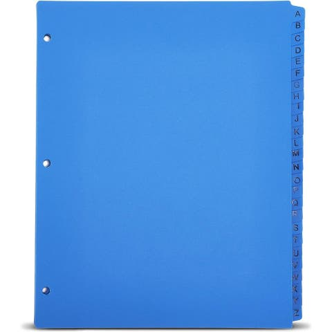 """3 Ring Binder Dividers Index Tabs A-Z (26-Sheets) Table of Contents, Blue - 11"""" X9"""""""
