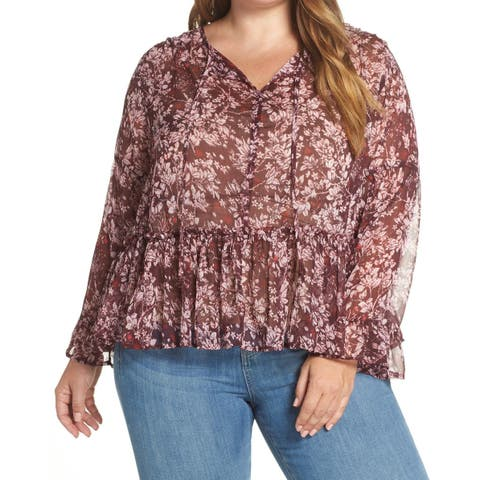 Lucky Brand Purple Womens Size 2X Plus Floral-Print Ruffle Blouse