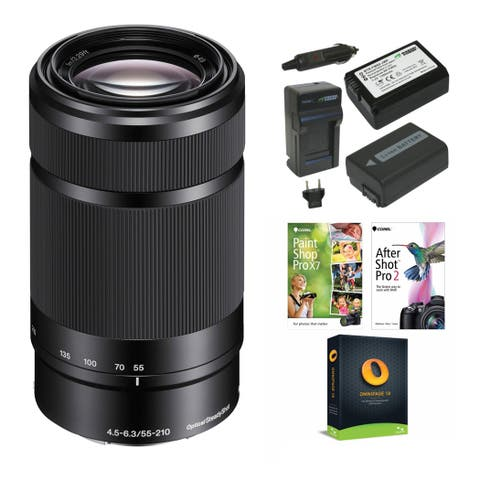Sony E 55-210mm f/4.5-6.3 OSS Lens (Black) with Accessory Bundle