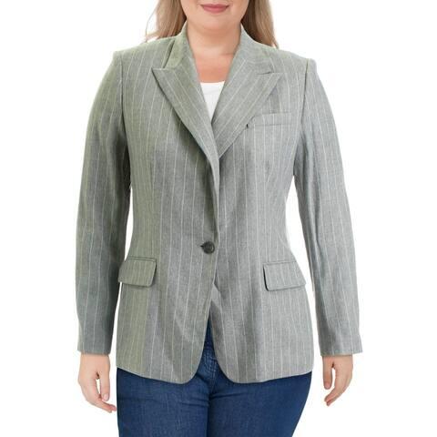 Lauren Ralph Lauren Womens Friesann One-Button Blazer Wool Blend Suit Separate - Grey