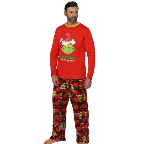 Dr. Seuss Mens' The Grinch Behave for the Holidays Sleep Set Pajamas